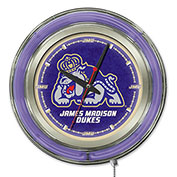 "James Madison University Double Neon Ring 15"" Dia. Logo Clock"