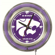 "Kansas State University Double Neon Ring 15"" Dia. Logo Clock"