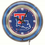 "Louisiana Tech University Double Neon Ring 15"" Dia. Logo Clock"