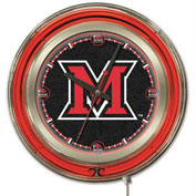 "Miami University (OH) Double Neon Ring 15"" Dia. Logo Clock"