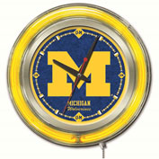 "University of Michigan Double Neon Ring 15"" Dia. Logo Clock"