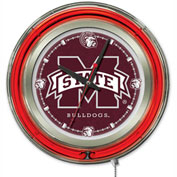 """Mississippi State University Double Neon Ring 15"""" Dia. Logo Clock"""