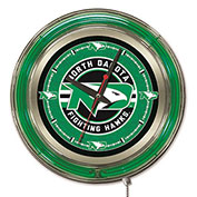 "University of North Dakota Script ""ND"" Double Neon Ring 15"" Dia. Logo Clock"