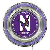 "Northwestern University Double Neon Ring 15"" Dia. Logo Clock"