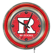 "Rutgers Scarlet Knights Double Neon Ring 15"" Dia. Logo Clock"