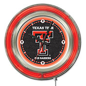 "Texas Tech University Double Neon Ring 15"" Dia. Logo Clock"