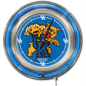 "University of Kentucky ""Cat"" Double Neon Ring 15"" Dia. Logo Clock"