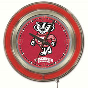 "University of Wisconsin ""Badger"" Double Neon Ring 15"" Dia. Logo Clock"