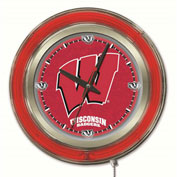 "University of Wisconsin Script ""W"" Double Neon Ring 15"" Dia. Logo Clock"