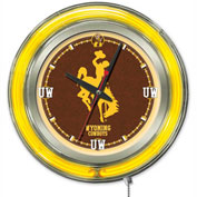 "University of Wyoming Double Neon Ring 15"" Dia. Logo Clock"