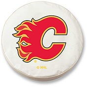 Calgary Flames White Tire Cover-TCLGCALFLAWT