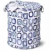 Large Pop-Up Open Spiral Laundry Hamper w/Zipper Lid, Blue Squares, Polycotton