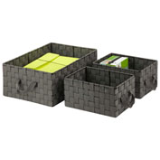 Honey-Can-Do 3-Piece Woven Basket Organizers - Salt and Pepper