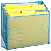Honey-Can-Do 3-Compartment Steel Vertical File Desk Sorter - Blue