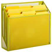 Honey-Can-Do 3-Compartment Steel Vertical File Desk Sorter - Lime
