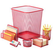Honey-Can-Do 6-Piece Steel Mesh Desk Organization Set - Red