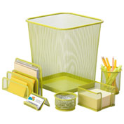 Honey-Can-Do 6-Piece Steel Mesh Desk Organization Set - Lime