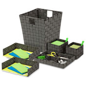 Honey-Can-Do Woven Desk Organization Set - Salt and Pepper