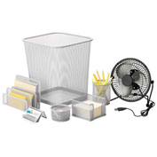Honey-Can-Do Desk Essentials Steel Mesh Organization Set - Silver