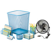 Honey-Can-Do Desk Essentials Steel Mesh Organization Set - Blue