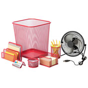 Honey-Can-Do Desk Essentials Steel Mesh Organization Set - Red