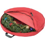 "Holiday 30"" Zipper Canvas Wreath Storage, Red/Pine Green"