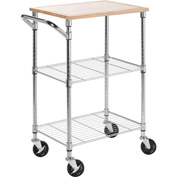 "Chrome Kitchen Cart with Cutting Board 28-1/2""L x 17-3/4""W x 37-1/2""H, Chrome"
