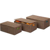 """3-Piece Set Paper Rope Baskets, Taupe , 17""""L x 11-1/2""""W x 6-1/2""""H"""