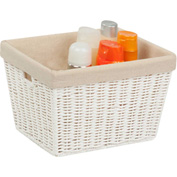 """Paper Rope Storage Tote with Liner, White , 10""""L x 12""""W x 8""""H"""