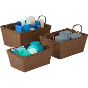 """3-Piece Set Small Stacking Baskets, Brown , 15""""L x 11""""W x 7""""H"""