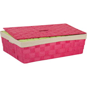 """Paper Rope Large Basket with Liner, Pink , 23-1/2""""L x 15-3/4""""W x 6-1/2""""H"""