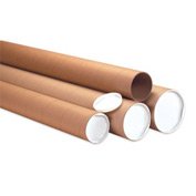 "Heavy-Duty Mailing Tube With Cap, 60""L x 3"" Diameter x 0.125 Wall Thickness, Kraft, 24 Pack"