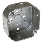 "Hubbell 125 Octagon Box 4"", 1-1/2"" Deep, 1/2"" Side Knockouts - Pkg Qty 50"