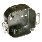"Hubbell 150 Octagon Box 4"", 1-1/2"" Deep, 1/2"" Side Knockouts, Plaster Ears, Nmsc Clamps - Pkg Qty 50"