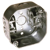 """Hubbell 153 Octagon Box 4"""", 1-1/2"""" Deep, 1/2"""" Side Knockouts, Mc/Bx Clamps - Pkg Qty 25"""