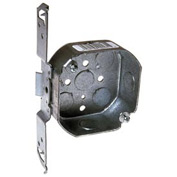 "Hubbell 161 Octagon Box 4"", 1-1/2"" Deep, 1/2"" Side Knockouts, Stud Bracket - Pkg Qty 50"