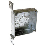 "Hubbell 196 Square Box 4"", 1-1/2""D, 1/2""& 3/4"" Side Knockouts, Stud Bracket,Welded - Pkg Qty 25"