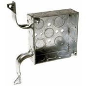 "Hubbell 208 Square Box 4"", 1-1/2""D, 1/2""& 3/4"" Side Knockouts, Stud Bracket,Welded - Pkg Qty 25"