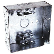 "Hubbell 213 Square Box 4"", 1-1/2""Deep, 1/2""& 3/4"" Side Knockouts, Mc/Bx Clamps, Welded - Pkg Qty 50"