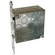 "Hubbell 235 Square Box 4"", 2-1/8""D,1/2""& 3/4"" Side Knockouts, Stud Bracket,Welded - Pkg Qty 25"
