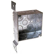 "Hubbell 236 Square Box 4"", 2-1/8"" Deep, 3/4"" Side Knockouts, Stud Bracket, Welded - Pkg Qty 25"