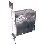 "Hubbell 237 Square Box 4"", 2-1/8"" Deep, 1/2"" & 3/4"" Knockouts, Stud Bracket, Welded - Pkg Qty 25"