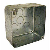 "Hubbell 239 Square Box 4"", 2-1/8"" Deep, 1/2"" & 3/4"" Side Knockouts, For Plenum Box, Drawn - Pkg Qty 25"