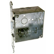 "Hubbell 240 Square Box 4"", 2-1/8""D, 1/2"" & 3/4"" Side Knockouts, Nmsc Clamps, Stud Bracket - Pkg Qty 25"