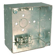 "Hubbell 242 Square Box 4"", 2-1/8"" Deep, 1/2"" & 3/4"" Side Knockouts, Nmsc Clamps, Welded - Pkg Qty 25"
