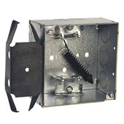 "Hubbell 243 Square Box 4"", 2-1/8""D, 1/2"" & 3/4"" Side Knockout, Mc/Bx Clamps, Stud Bracket - Pkg Qty 25"