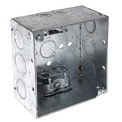 "Hubbell 248 Square Box 4"", 2-1/8"" Deep, 1/2""& 3/4"" Side Knockouts, Mc/Bx Clamps,Welded - Pkg Qty 25"
