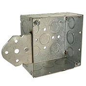 "Hubbell 251 Square Box 4"", 2-1/8"" Deep, 1/2"" & 3/4"" Side Knockouts, Stud Bracket, Welded - Pkg Qty 25"