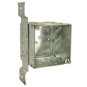 "Hubbell 255 Square Box 4"", 3-1/2""D,1/2"" & 3/4"" Side Knockout, Large Cap Box, Stud Bracket - Pkg Qty 10"