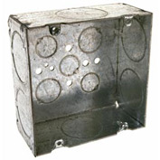 "Hubbell 259 Square Box 4-11/16"", 2-1/8"" Deep, 1-1/4"" Side Knockouts, Welded - Pkg Qty 25"